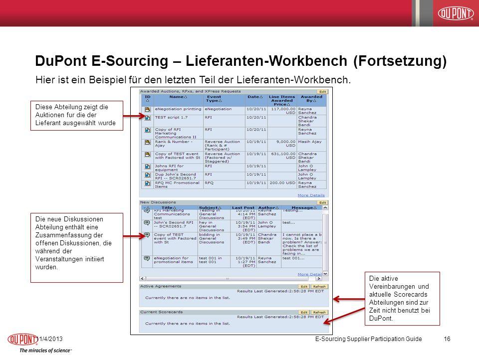 DuPont E-Sourcing – Lieferanten-Workbench (Fortsetzung)