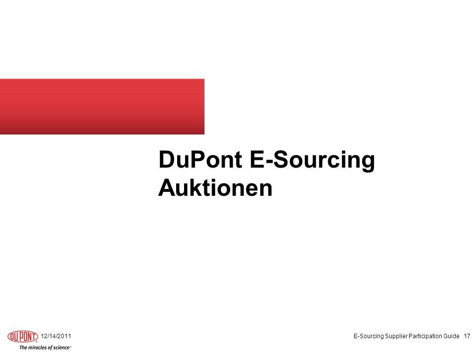 DuPont E-Sourcing Auktionen