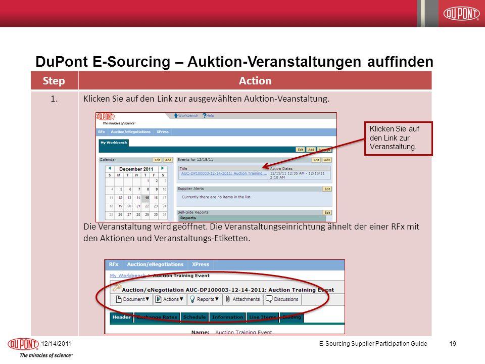 DuPont E-Sourcing – Auktion-Veranstaltungen auffinden