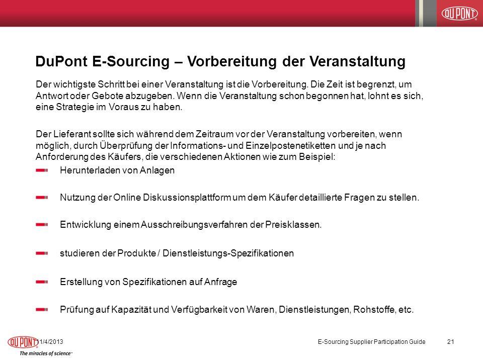 DuPont E-Sourcing – Vorbereitung der Veranstaltung