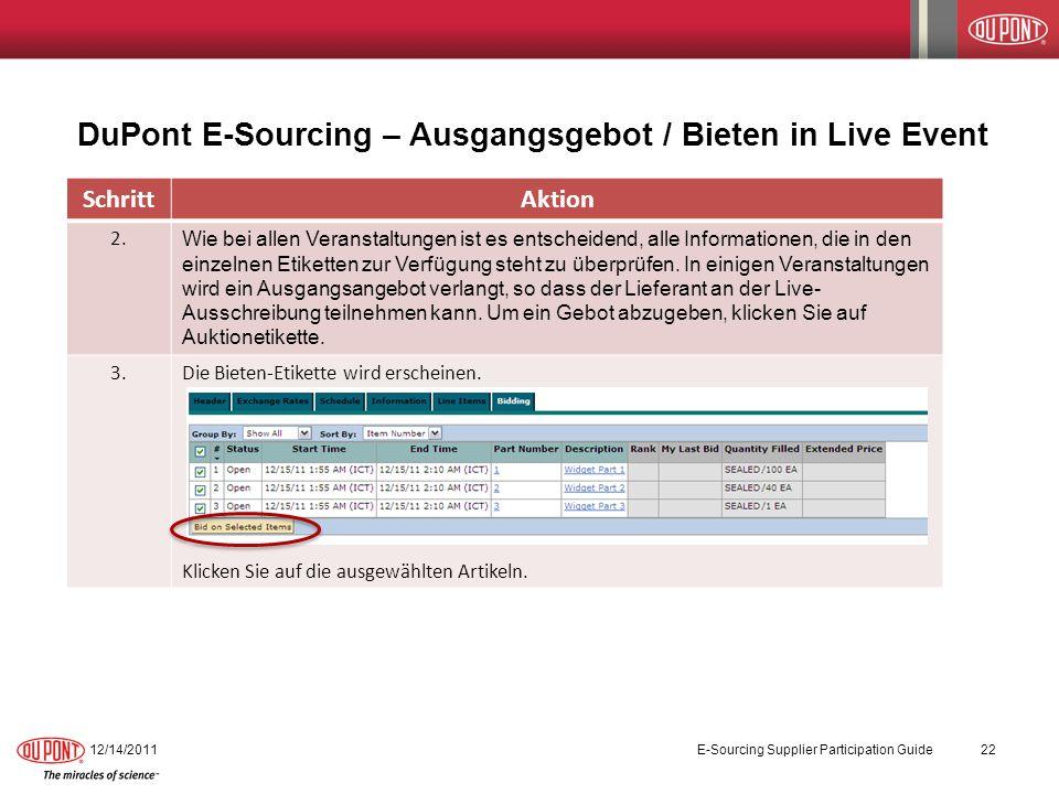 DuPont E-Sourcing – Ausgangsgebot / Bieten in Live Event
