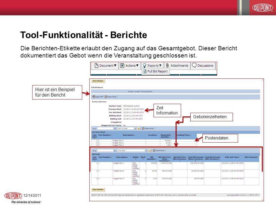 Tool-Funktionalität - Berichte