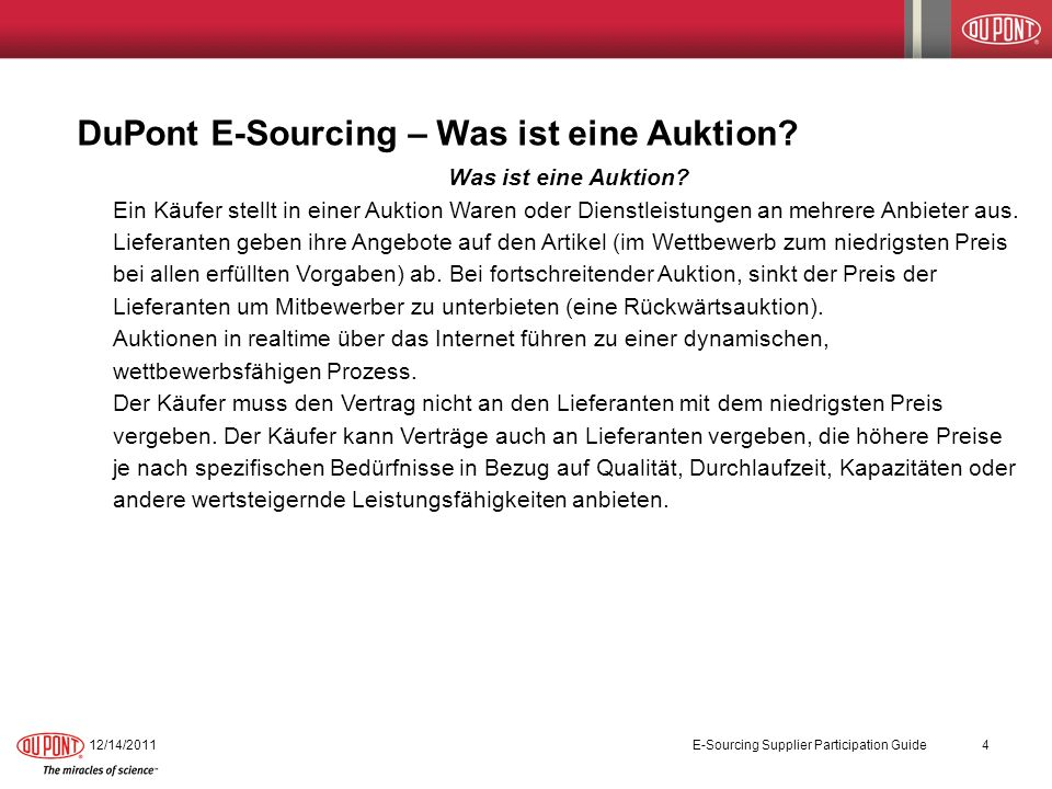 DuPont E-Sourcing – Was ist eine Auktion