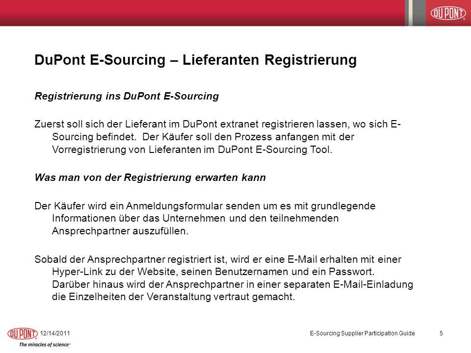 DuPont E-Sourcing – Lieferanten Registrierung