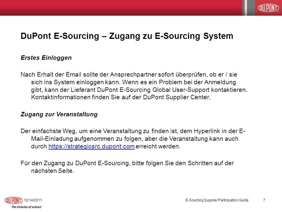 DuPont E-Sourcing – Zugang zu E-Sourcing System