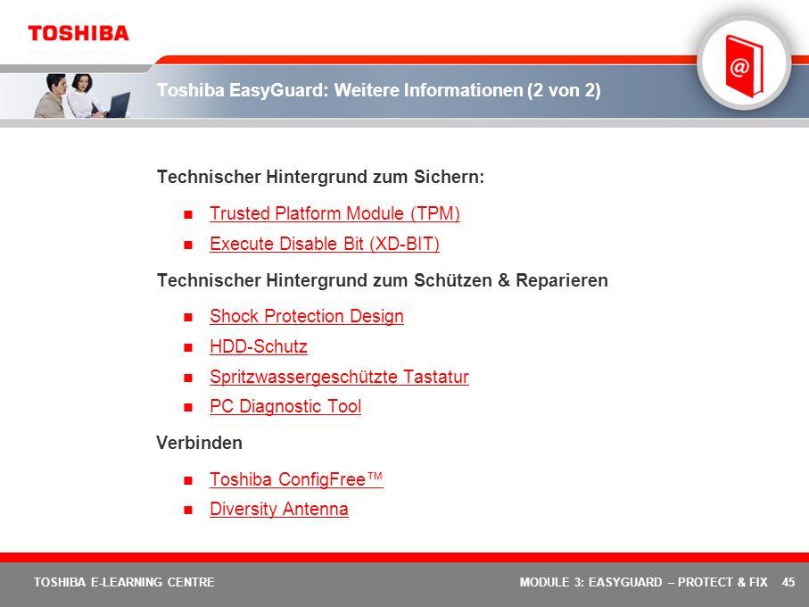 Toshiba EasyGuard: Weitere Informationen (2 von 2)