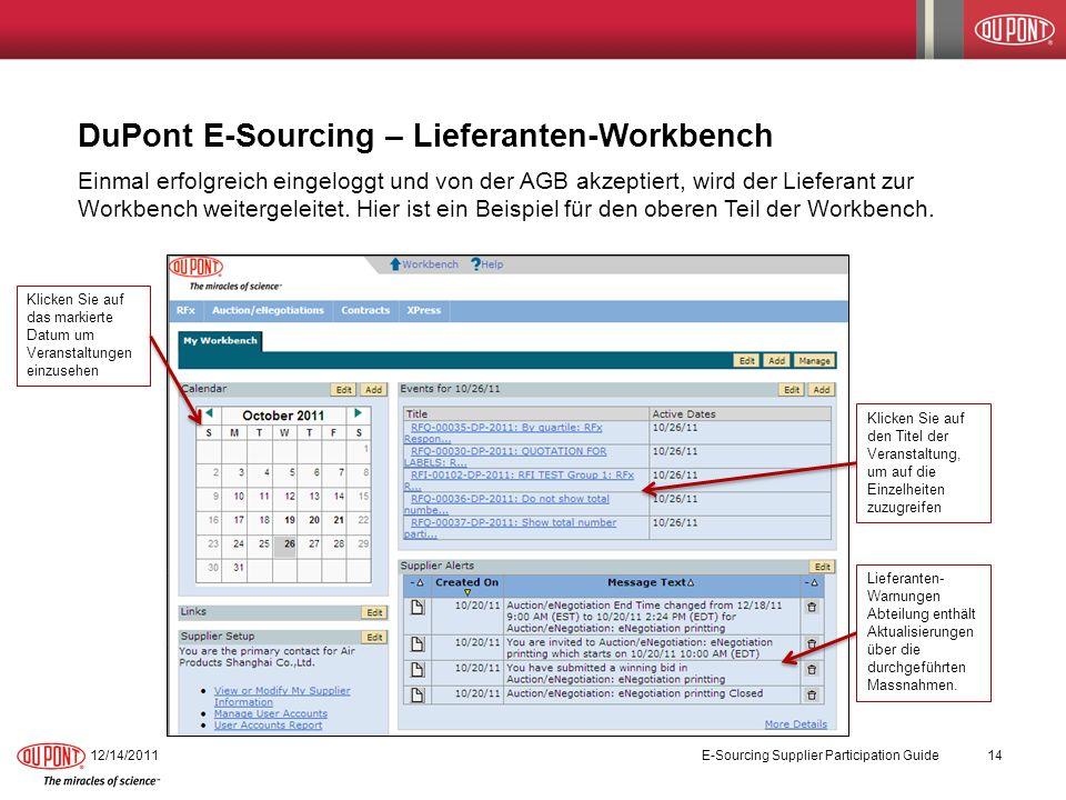 DuPont E-Sourcing – Lieferanten-Workbench