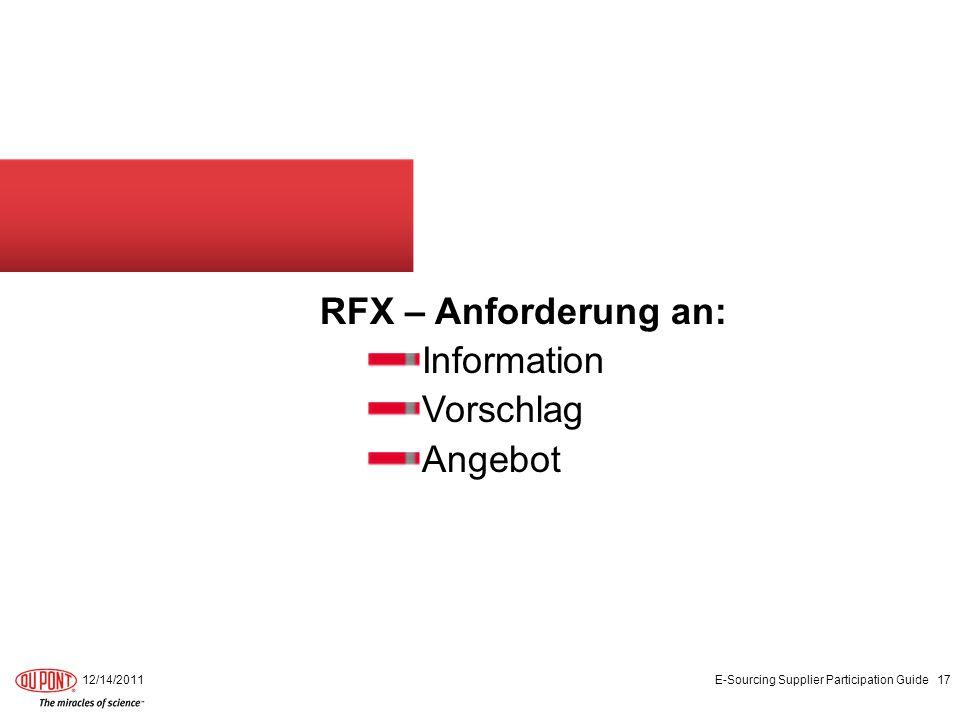 RFX – Anforderung an: Information Vorschlag Angebot 12/14/2011