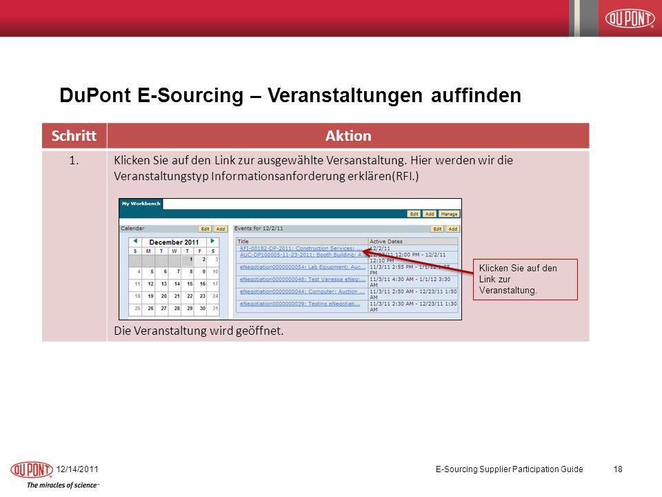 DuPont E-Sourcing – Veranstaltungen auffinden