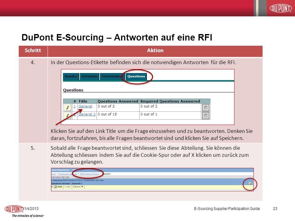 DuPont E-Sourcing – Antworten auf eine RFI