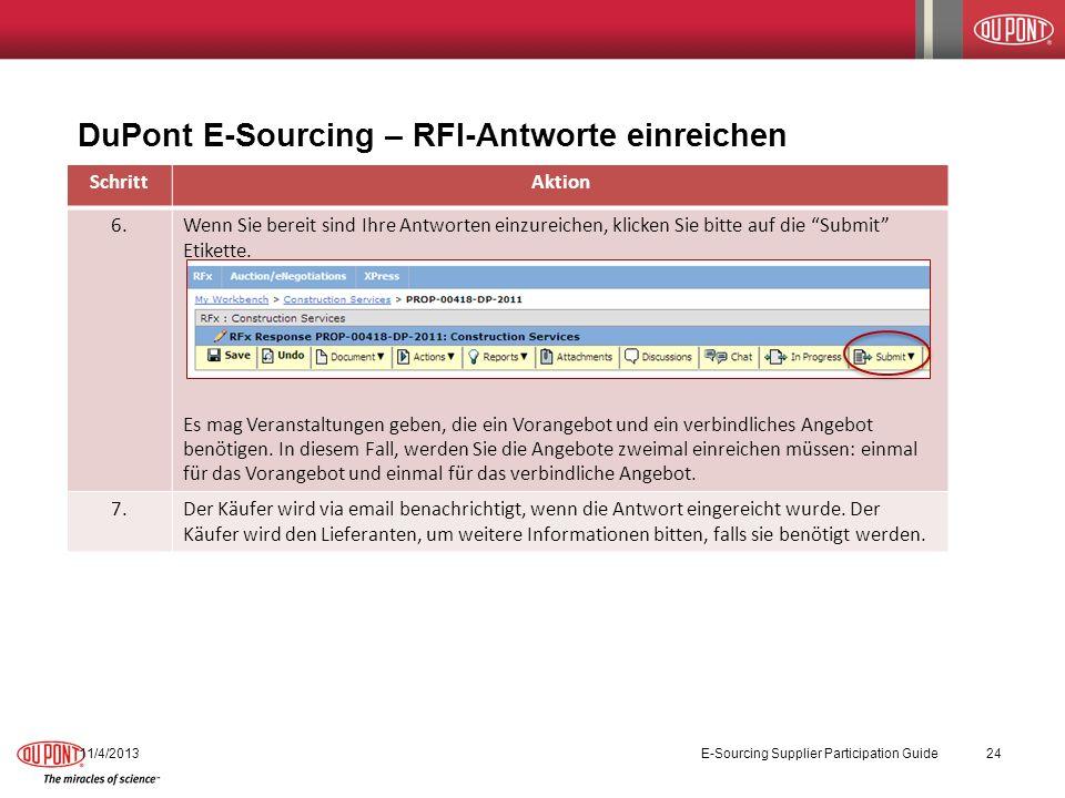 DuPont E-Sourcing – RFI-Antworte einreichen