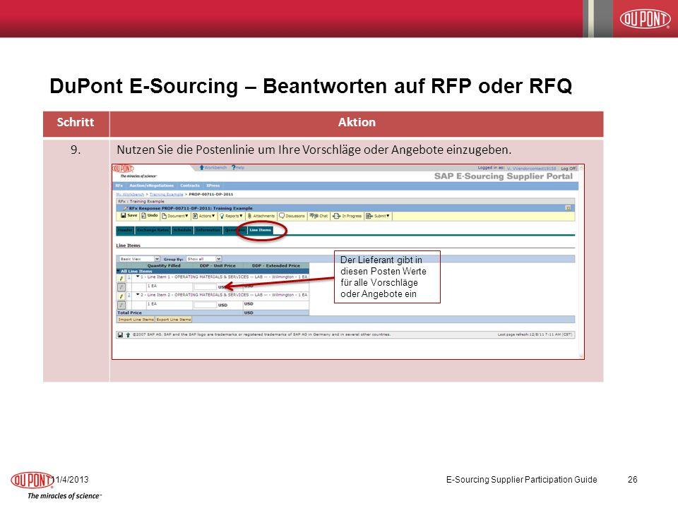 DuPont E-Sourcing – Beantworten auf RFP oder RFQ