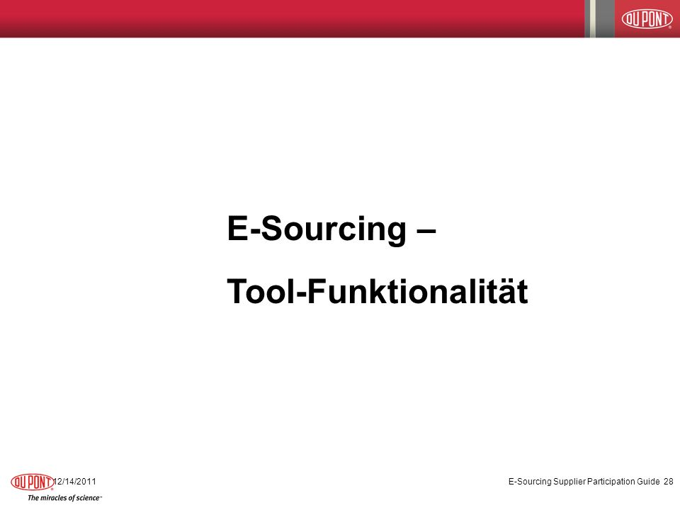 E-Sourcing – Tool-Funktionalität 12/14/2011