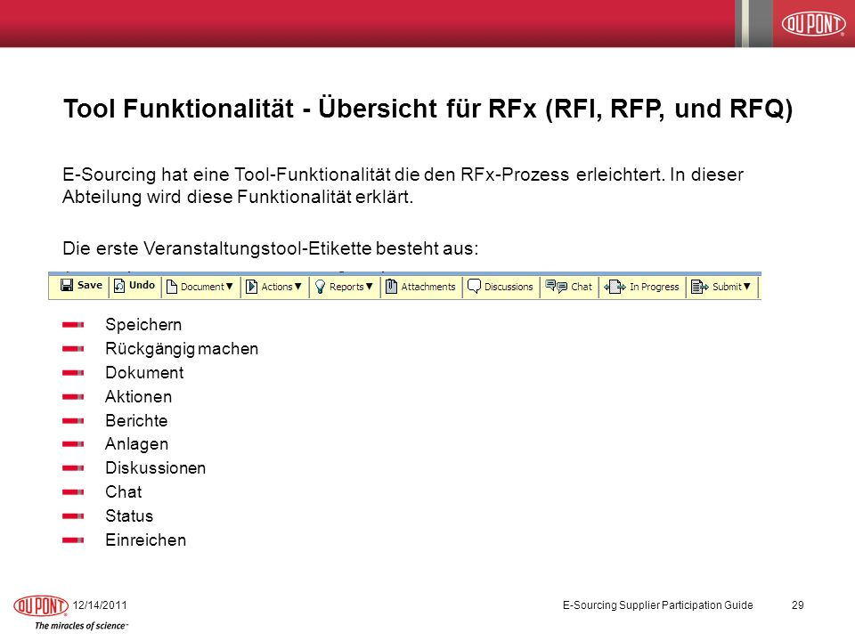 Tool Funktionalität - Übersicht für RFx (RFI, RFP, und RFQ)