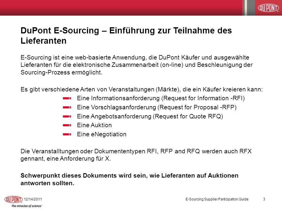 DuPont E-Sourcing – Einführung zur Teilnahme des Lieferanten