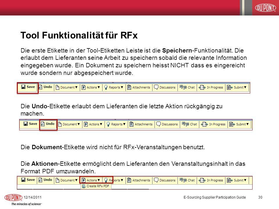 Tool Funktionalität für RFx