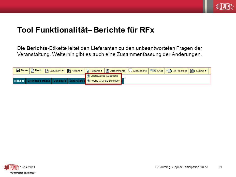 Tool Funktionalität– Berichte für RFx