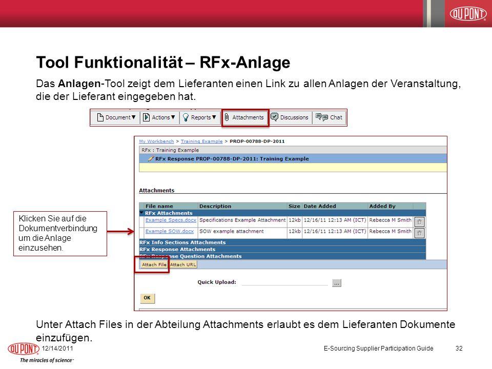 Tool Funktionalität – RFx-Anlage