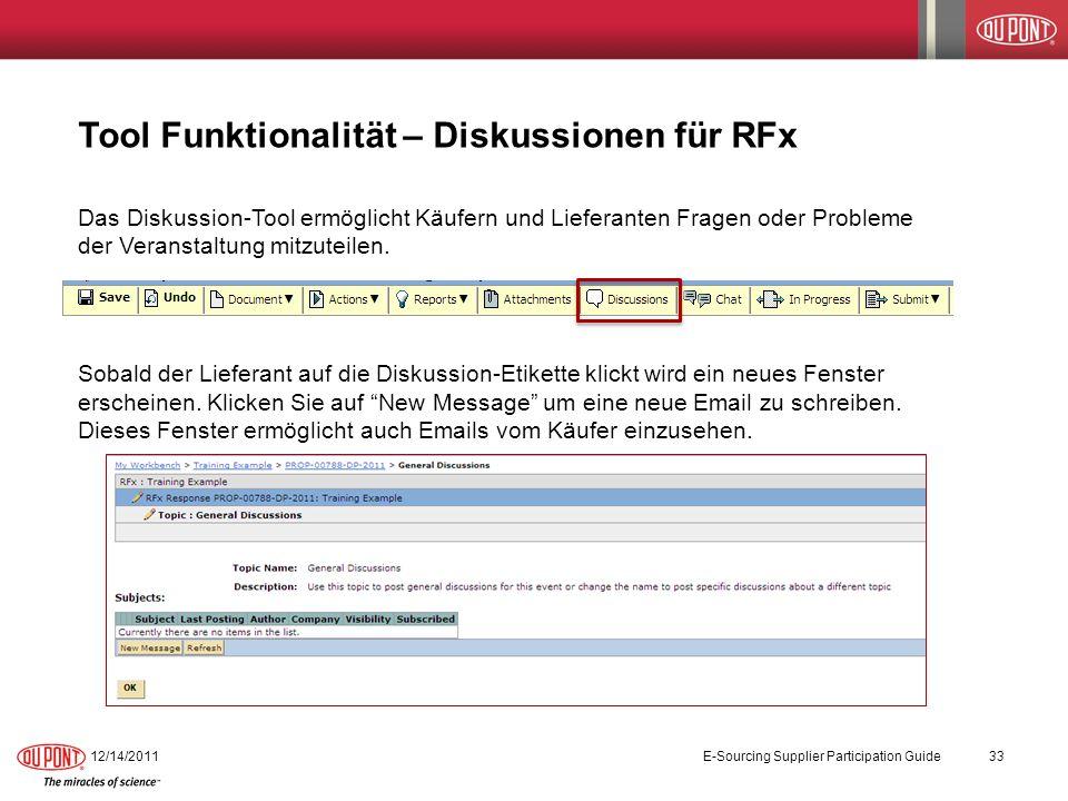 Tool Funktionalität – Diskussionen für RFx