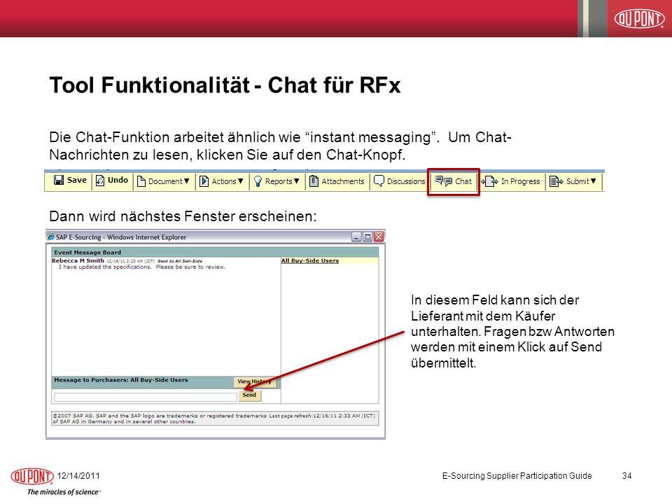 Tool Funktionalität - Chat für RFx