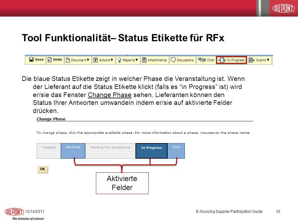 Tool Funktionalität– Status Etikette für RFx