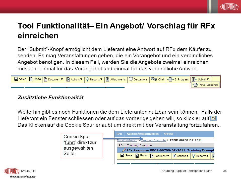 Tool Funktionalität– Ein Angebot/ Vorschlag für RFx einreichen