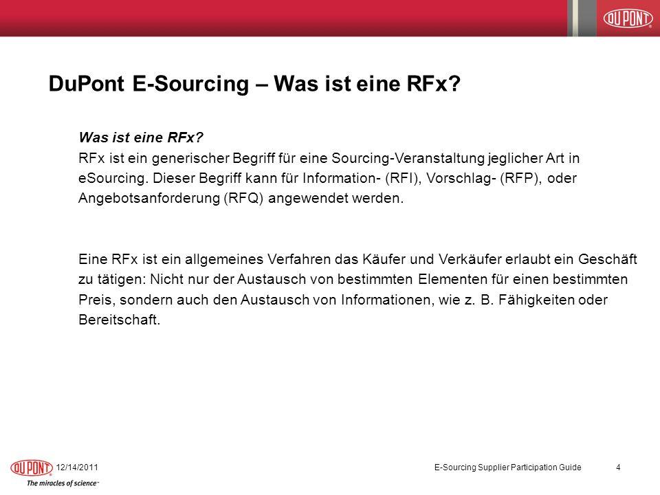 DuPont E-Sourcing – Was ist eine RFx