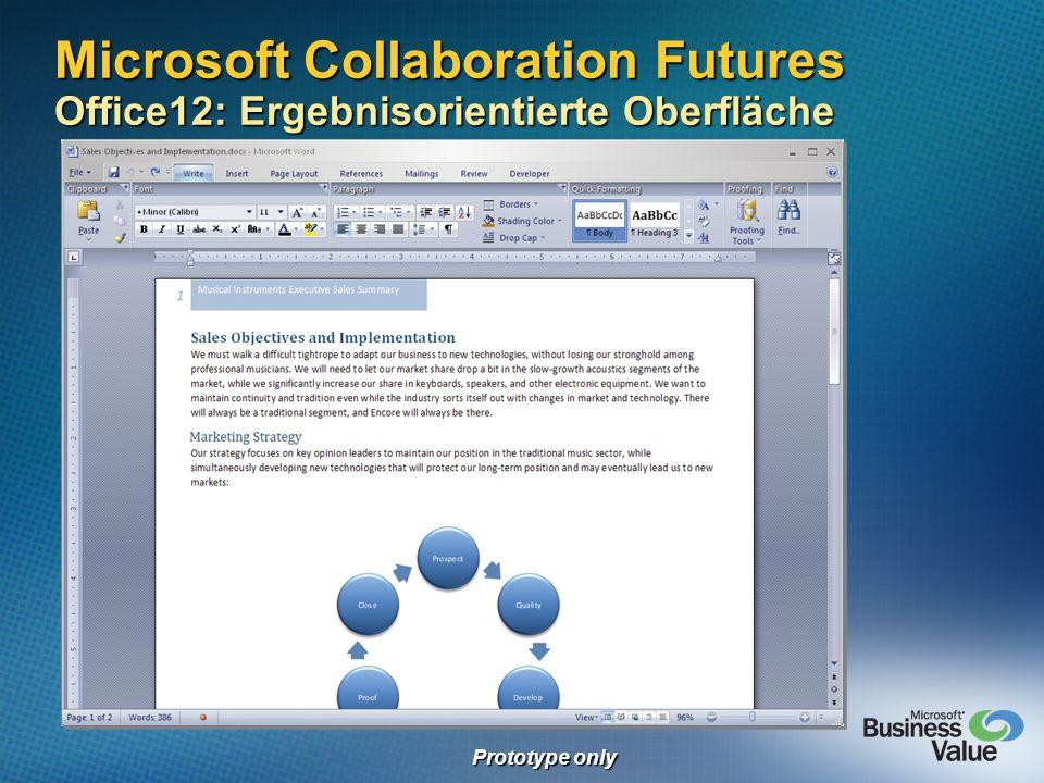 Microsoft Collaboration Futures Office12: Ergebnisorientierte Oberfläche