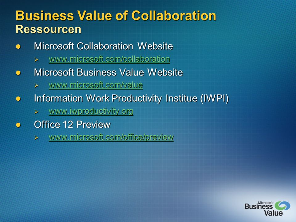 Business Value of Collaboration Ressourcen