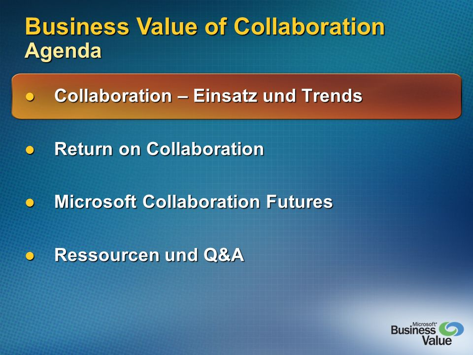 Business Value of Collaboration Agenda