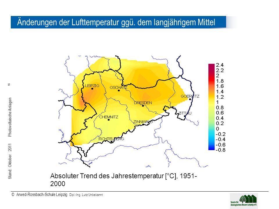Änderungen der Lufttemperatur ggü. dem langjährigem Mittel