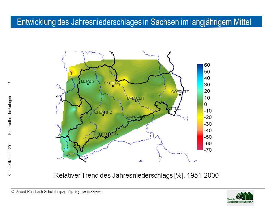 Entwicklung des Jahresniederschlages in Sachsen im langjährigem Mittel