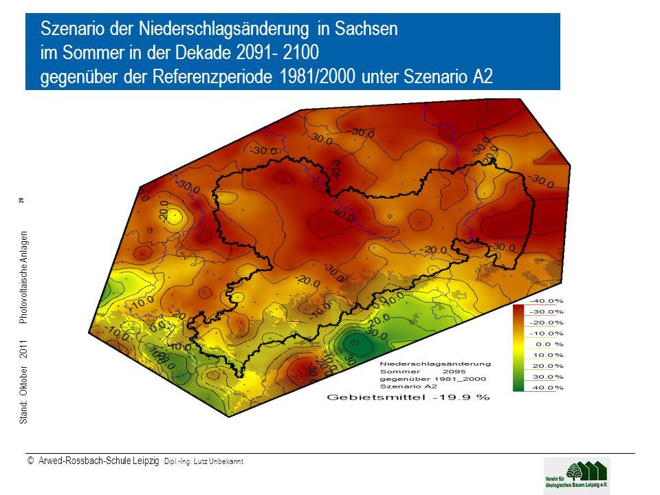 Szenario der Niederschlagsänderung in Sachsen im Sommer in der Dekade 2091- 2100 gegenüber der Referenzperiode 1981/2000 unter Szenario A2