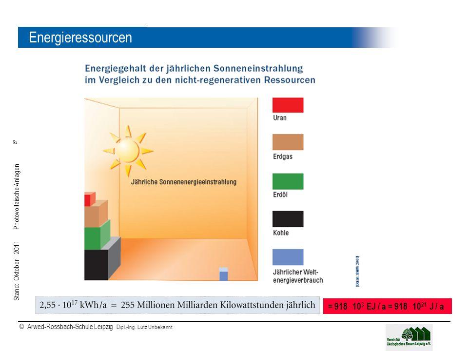 Energieressourcen = 918 . 103 EJ / a = 918 . 1021 J / a