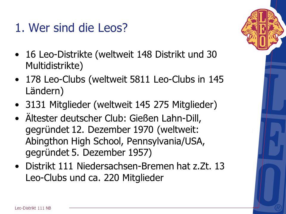 1. Wer sind die Leos 16 Leo-Distrikte (weltweit 148 Distrikt und 30 Multidistrikte) 178 Leo-Clubs (weltweit 5811 Leo-Clubs in 145 Ländern)