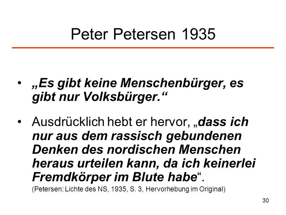 """Peter Petersen 1935 """"Es gibt keine Menschenbürger, es gibt nur Volksbürger."""