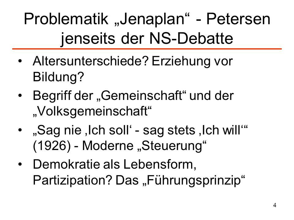 "Problematik ""Jenaplan - Petersen jenseits der NS-Debatte"