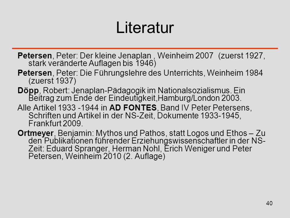 Literatur Petersen, Peter: Der kleine Jenaplan , Weinheim 2007 (zuerst 1927, stark veränderte Auflagen bis 1946)