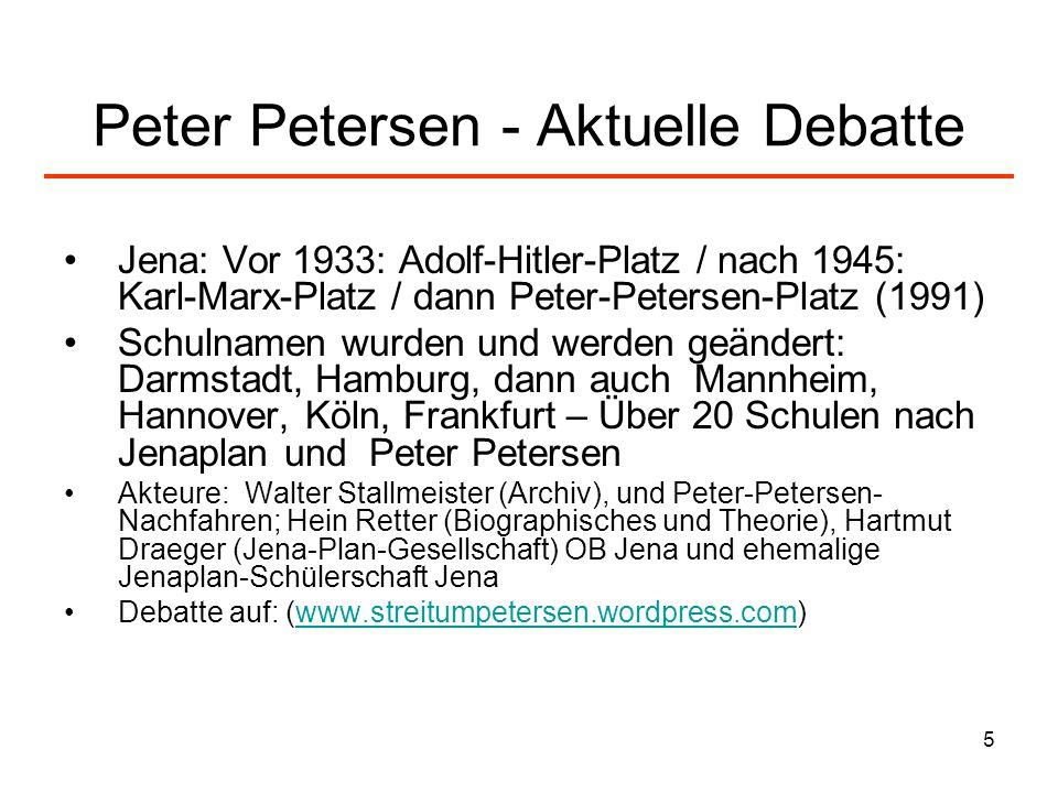 Peter Petersen - Aktuelle Debatte