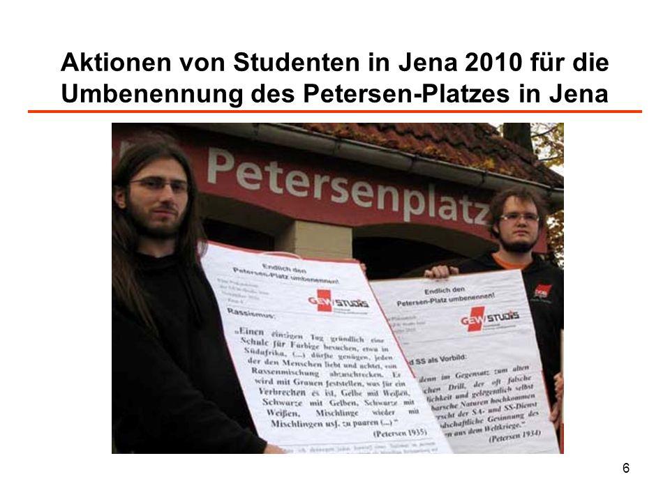 Aktionen von Studenten in Jena 2010 für die Umbenennung des Petersen-Platzes in Jena