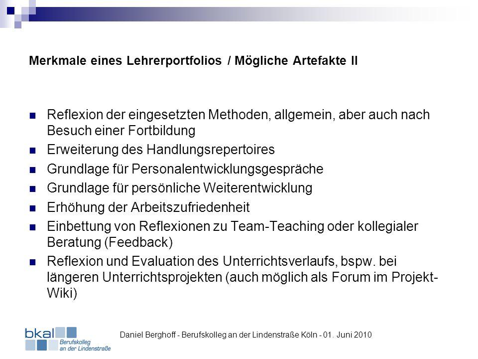Merkmale eines Lehrerportfolios / Mögliche Artefakte II