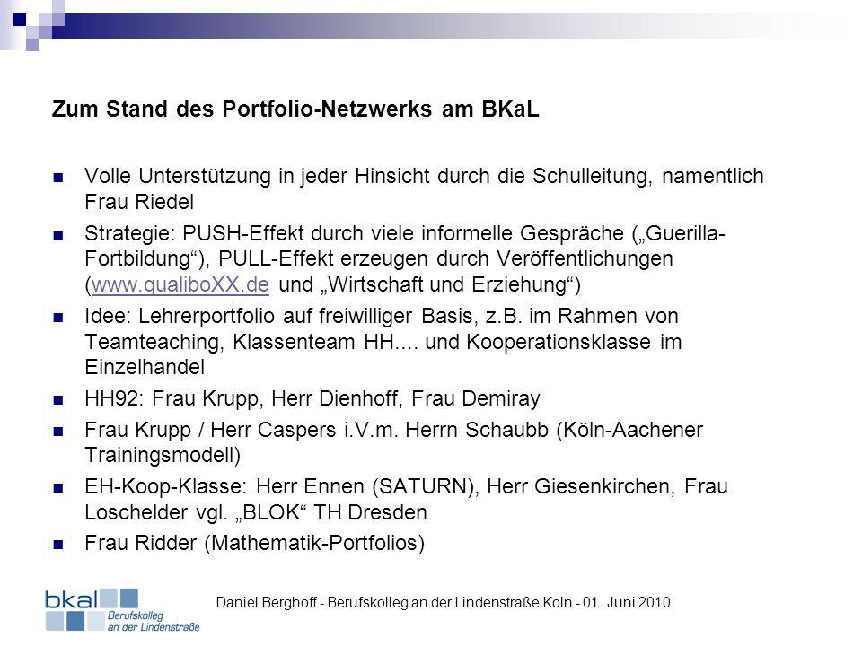 Zum Stand des Portfolio-Netzwerks am BKaL