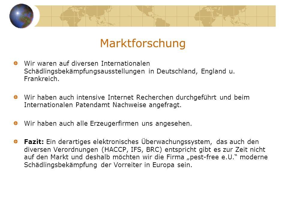 Marktforschung Wir waren auf diversen Internationalen Schädlingsbekämpfungsausstellungen in Deutschland, England u. Frankreich.