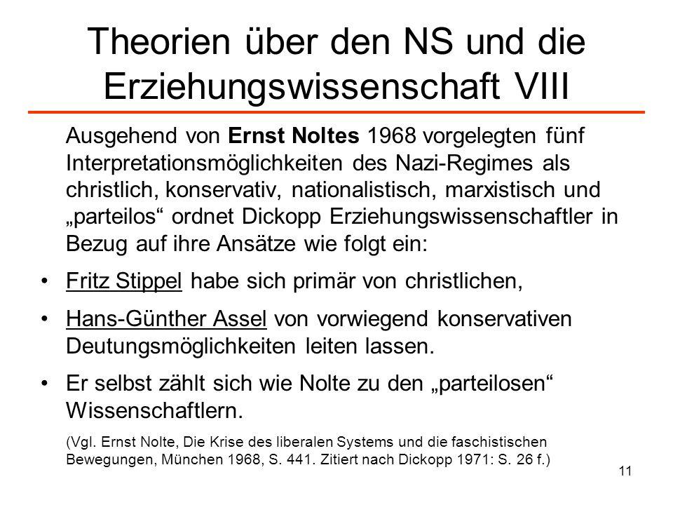 Theorien über den NS und die Erziehungswissenschaft VIII