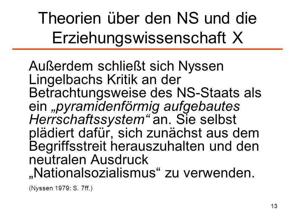 Theorien über den NS und die Erziehungswissenschaft X
