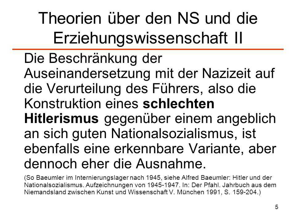 Theorien über den NS und die Erziehungswissenschaft II