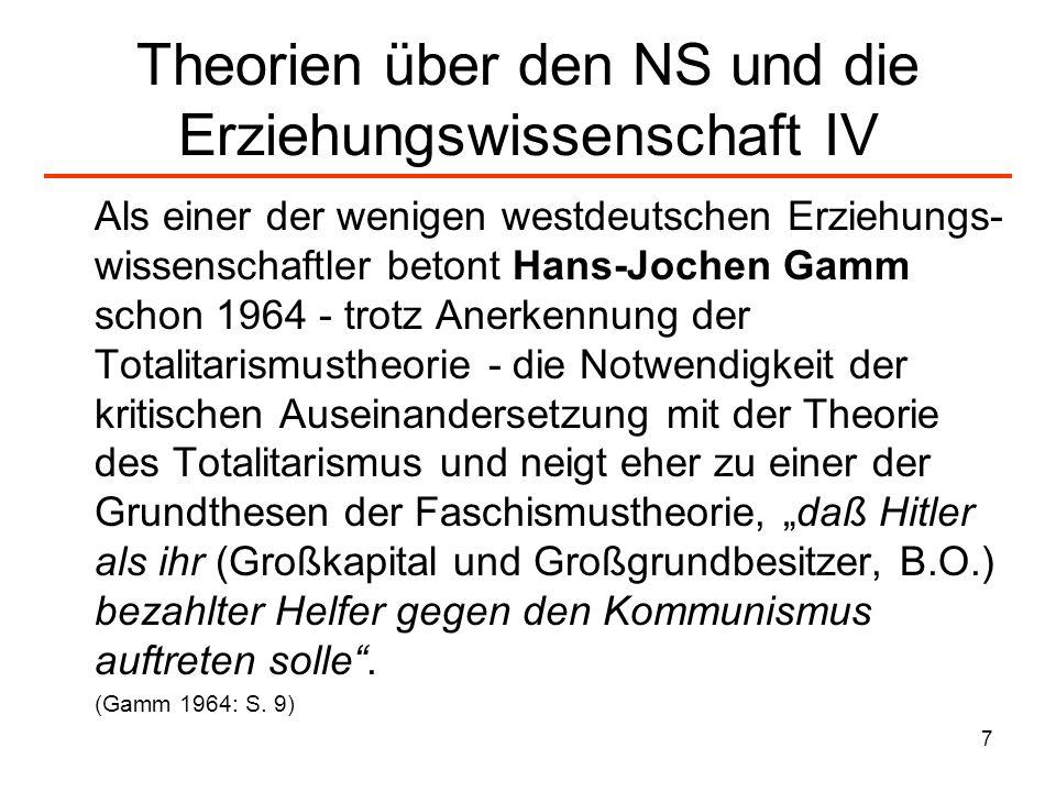 Theorien über den NS und die Erziehungswissenschaft IV