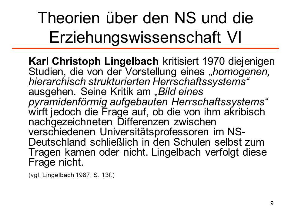 Theorien über den NS und die Erziehungswissenschaft VI