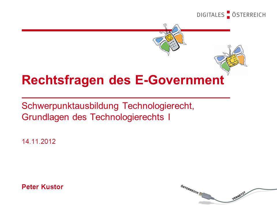 Rechtsfragen des E-Government