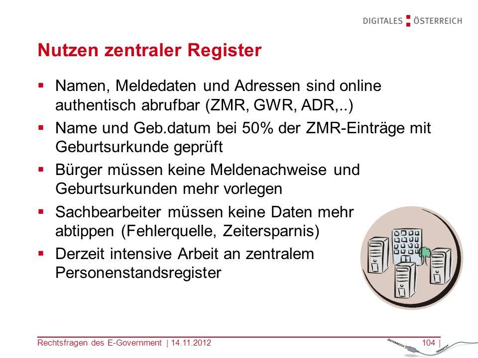 Nutzen zentraler Register